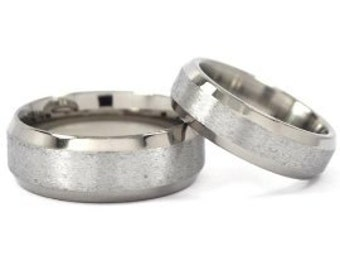 Titanium Rings For Him And Her, Matching Wedding Rings, Titanium Bands: 8B-ST.6B-ST