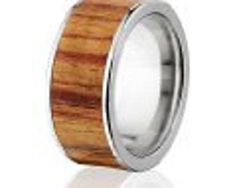 New Tulip Wood Rings, Exotic Hard Wood Wedding Band w/ Comfort Fit: 10F_Tulip Wood