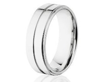 Men's Cobalt Wedding Rings, Cobalt Chrome Wedding Band, USA MADE: COB-7RC1G-P