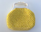 50% Off SALE-Vintage 1960s Yellow Beaded Purse with White Plastic Handle