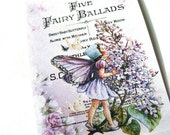 Lilac Fairy  Tags , Set Of 6 , Vintage Fairy , Spring Flowers - Garden Tags - Fantasy Tags - Thank Yous - Nature Tags - Cottage Chic