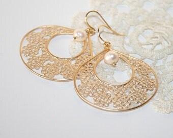 Filigree Teardrop Earrings Pearl Earrings, Golden Tribal Earrings Boho Feminine Bohemian lightweight Earrings, Christmas Gift for Her