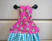 Hanging Kitchen Towel--Pink Flowers and Turquoise Gingham