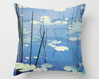 Decorative pillow cover, lily pads photo pillow, New England photo,  pond throw pillow,  blue and green pillow, living room decor