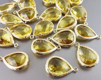 2 Unique topaz faceted glass pendants / large yellow gold tear drop glass beads for jewelry making 5060G-TO