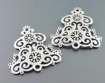 2 beautiful ornamental bell lace filigree pendants, metal findings, jewelry making, craft supplies 1026-MR (matte silver, 2 pieces)