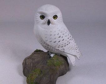 5 inch Snowy Owl Hand Carved Wooden Bird