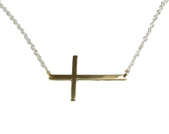 Two Tone--Sideways Cross Necklace, Skinny,  Your Choice of metals-- Celebrity Inspired