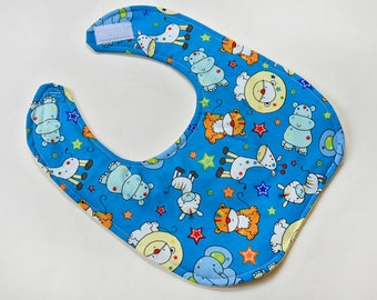 SALE - Baby Bib For Gender Neutral Infant Bibs Baby Gift Cute Animals Reversible Flannel Backing