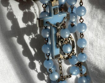 Blue Moonglow Bead Rosary Necklace Lourdes France