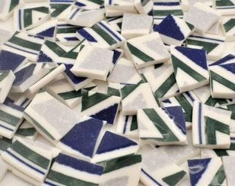 Broken China MosaicTile -Recycled Plates -  Royal Blue -  Green - Set of 80