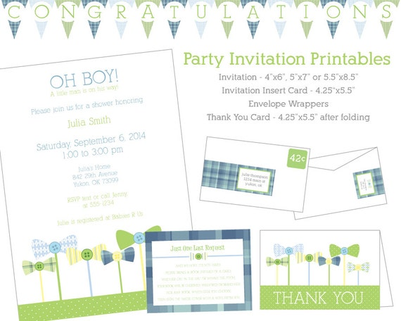 DIY Bow Tie and Buttons Invitation and Party Set - Ultimate Package - Stationary, Decorations, Games and More!
