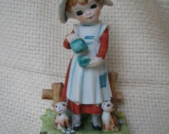 Vintage Holly Hobbie Style Figurine - Little Girl in Bonnet - Country Girl - Kittens - Flowers - Girl feeding Cats - Art