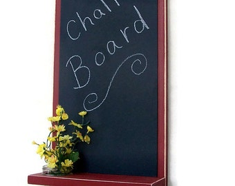 Chalkboard with Shelf Jar Vase and Key Hooks
