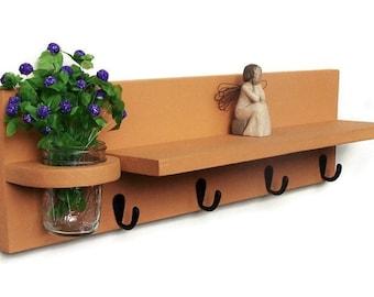 Shelf with  Key Hooks and Mason Jar Key Holder
