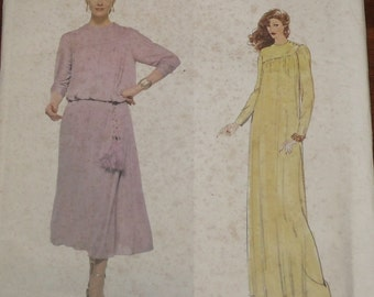 Vogue Pattern 1994 Vintage Scott Barrie Pullover Dress Gown Length size 12 Factory Fold