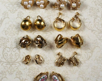 Lot of 9 Pairs of Vintage Gold Toned Clip On Earrings