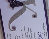 Silver Purple Butterfly Sweet Sixteen 16 15 Invitation Kaitlyn Caitlyn Catelyn Kate Cate - Enchanted Forest Party Invitations