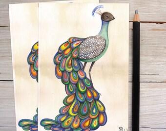 peacock invitation, art print card set, bird note cards, peacock stationery