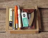 Vintage Desk Supplies - Pocket Stapler - Bullet Pencils - Fineline Pencil Lead - Paper Fasteners - Office Supplies