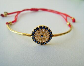 Evil Eye Bracelet, dainty bracelet, boho bracelet, bohemian Evil Eye Jewelry, Evil Eye Protection Bracelet,good luck charm,spiritual jewelry