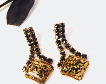 Art Deco Czech Yellow Art glass Black and Gold Rhinestone Vintage Earrings Art Deco Jewelry
