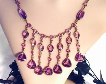 Art Deco open Back Purple Amethyst Crystal Vintage Bib Festoon Necklace Art Deco Jewelry