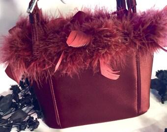 Italian Designer Beautiful Burgundy Sateen Feather Boa Rhinestone Buckle Vintage Purse Hand Bag