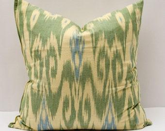 20x20, green cream ikat pillow cover. cotton ikat pillow cover, ikat cushion, decorative pillow