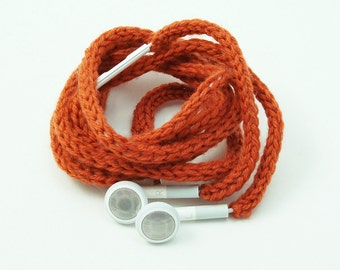 CLEARANCE SALE Tangle-Free Earbuds in Spiced Orange, Authentic Apple Earbuds