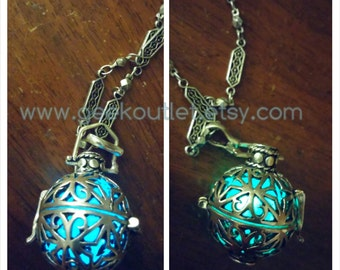 Rechargeable Glow in the Dark  -- Fairy Lights -- Cage Locket Pendant Necklace