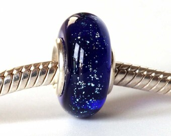 Midnight Blue Silver Lined Charm Bead, Sparkly Lampwork Big Hole Bead to fit European Bracelets