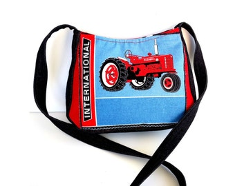 Unique crossbody purse/ Tractor purse /Red black bag/sturdy denim jeans/ tractor tote bag /Cute farm lover purse bag gift, Item # CJF77-1036