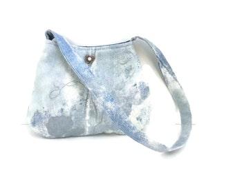 Minimalist denim shoulder bag purse handmade with boho silver heart button and blue and white tie dye fabric, CarolJoyFashions77