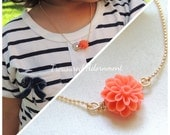 Little Girl Necklace, Coral Pink Mum Flower Necklace, gift for daughter, Mother and Daughter Necklace set, Child Necklace