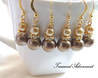 Bridesmaids Earrings, Chocolate Brown and Champagne Glass Pearls Earrings, Bridal Party Jewelry, Wedding, Mother's day gift, Thank you gift
