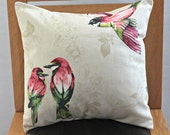 Pillow tropical birds pink red green gold cream branch leaves flowers decorative cushion 16 x 16  beige mothers day uk mum