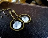 Cosmic Circles. Rainbow moonstone & Rustic hammered oxidized Brass hoops. Urban, Rustic, Boho handmade earrings.
