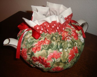 Red Gerainiums Tea Pot Cozy