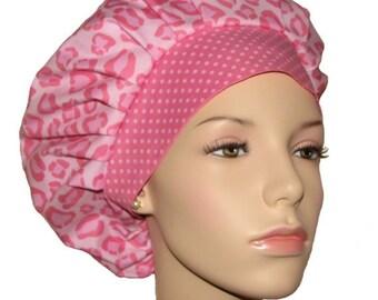 Bouffant Scrub Hats-Wild Thing Pink Leopard-ScrubHeads-Scrub Hat For Women-Scrub Caps-Surgical Scrub Hats-Veterinarian Hat-Leopard Scrub Hat