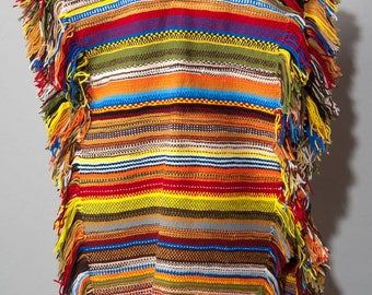 Vintage 1970s Hippies Hand Woven Poncho Amber Brown Tight Weave Festival BOHO  Bohemian Fringe Wrap Yellow Red Blue Gold Black Multi Color