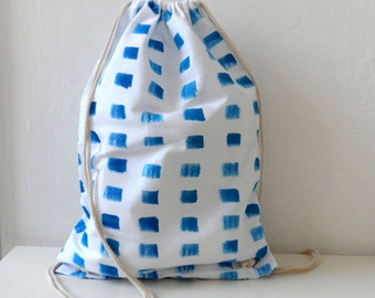 Blue White Striped Marine Cotton Tote, Handpainted summer Backpack, Drawstring bag, nautical bag