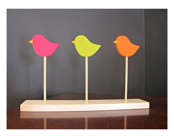 3 HAPPY BIRDS Shelf Decor - Nursery Decor, Children's Decor, Shelf Sitters