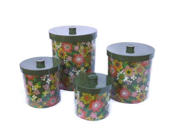 kitchen canisters retro floral melamine by