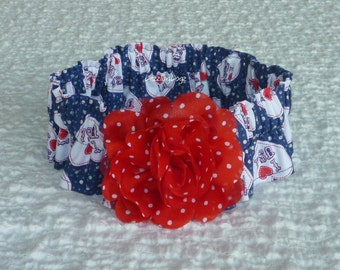 """I Love USA Patriotic Dog Scrunchie Collar - red dotted rose - Size XL: 18"""" to 20"""" neck"""