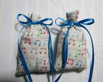 "Gray 3""X2"" Sachet-'Country Garden' Fragrance-Colorful Musical Notes Sachet-Blue Ribbon-Cotton Botanical/Herbal Sachet-Cindy's Loft-613"