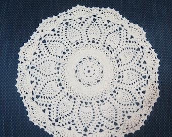 Cream Doily-11 Inch Doily-Ivory Cotton Pineapple Doily-Textured Doily-HandCrocheted Doily-Cindy's Loft