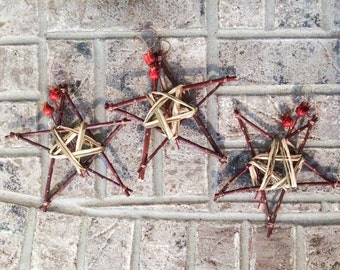 Ready to ship!  Set of three Rustic Christmas Ornaments or Decorations