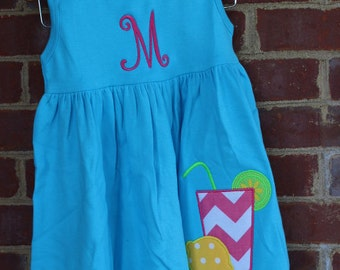 Personalized Turquoise Lemonade Dress or Swim suit cover up