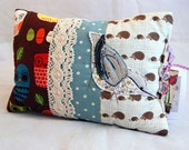 SALE......Beautiful Embroidered and Appliqued Nuthatch Scented Cushion